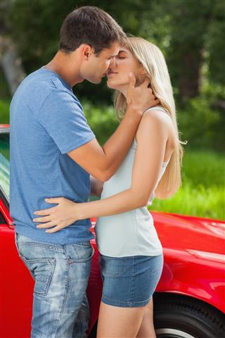 Loving couple kissing passionately