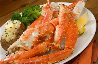 Alaskan King Crab leg plated dinner