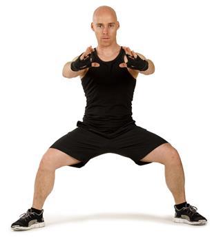 Young adult man doing aerobics