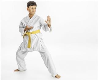 Child karate stance