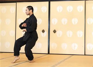 Monk cultivating martial arts