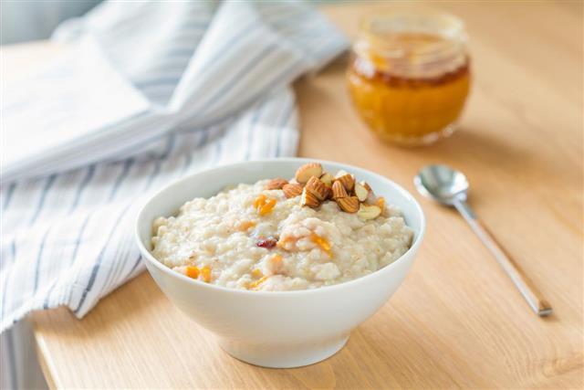 Breakfast oats porridge in bowl
