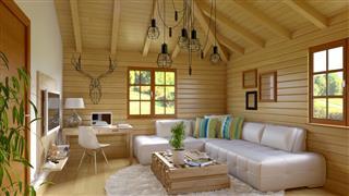 Modern and retro cabin interior