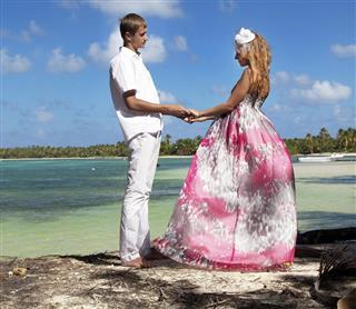 Couple in love on tropical beach