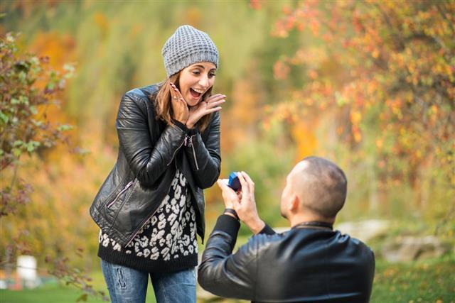 man proposing woman