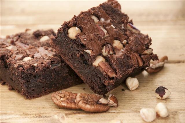 Homemade Chocolate And Nut Brownie Cake
