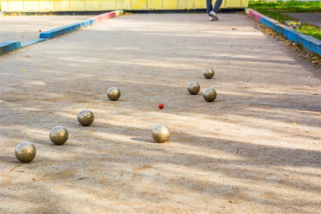 Bocce Balls in court