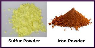 Sulfur powder and iron powder