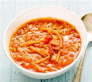 Rustic italian pancetta onion pasta soup