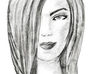 Beautiful young woman, charcoal drawing. Fashion illustration.