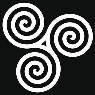 white Triskelion symbol