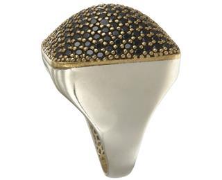 Silver ring with black zirconium stones
