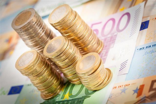 Euro money stacks