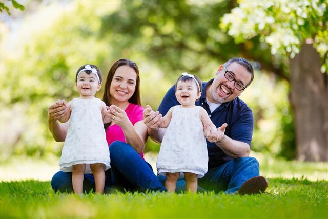 Hispanic family with twins