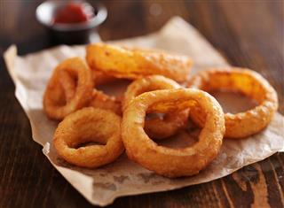 Crispy onion rings close up