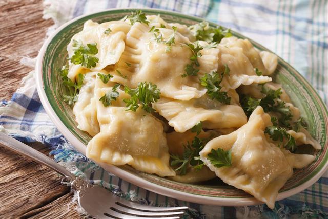 Maultaschen dumplings stuffed with meat and spinach closeup