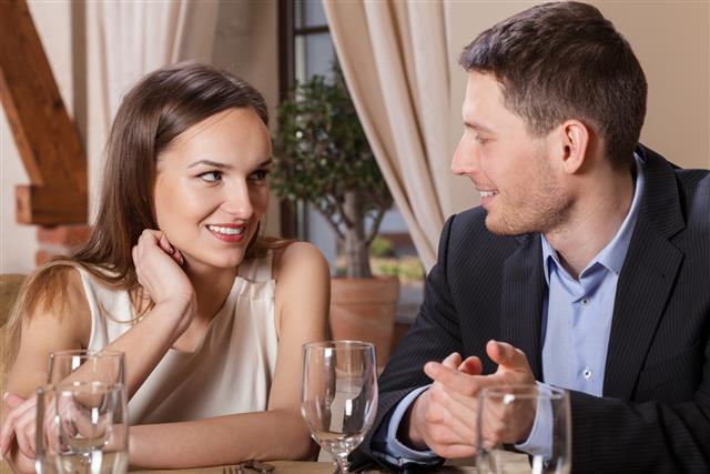 Couple in love having dinner