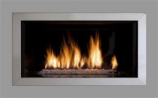 modern fireplace set in a wall