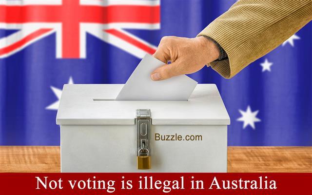 Man putting a ballot into a voting box – Australia