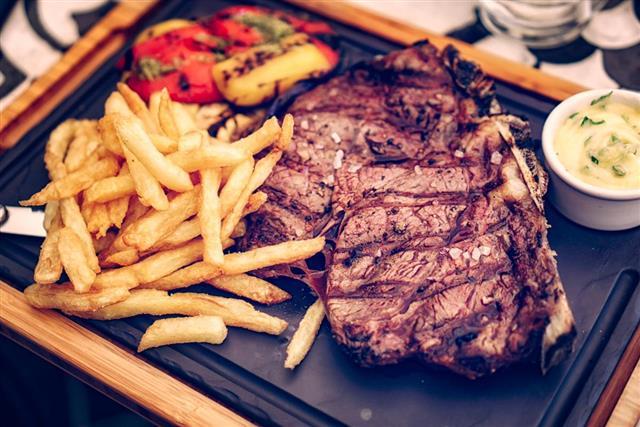 Delicious middle fried T-bone steak