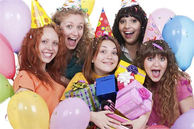 Joyful women with gifts