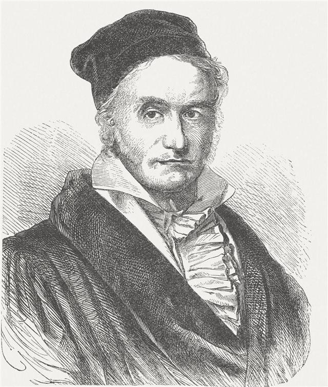 Carl Friedrich Gau??? (1777-1855), wood engraving, published in 1877