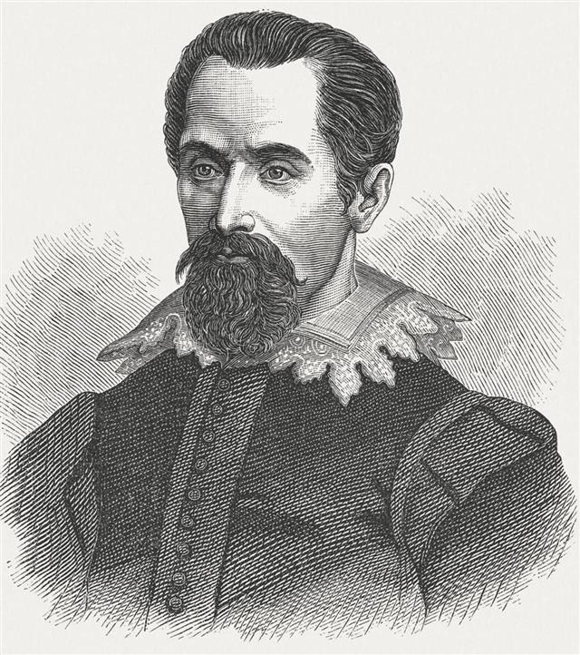 Johannes Kepler (1571 - 1630), wood engraving, published in 1880