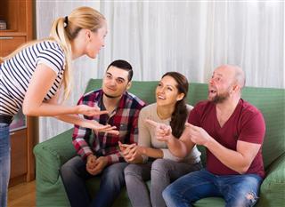 Group having fun at party
