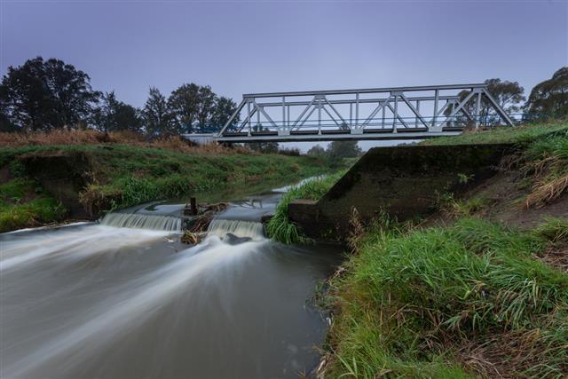 Railway steel truss bridge