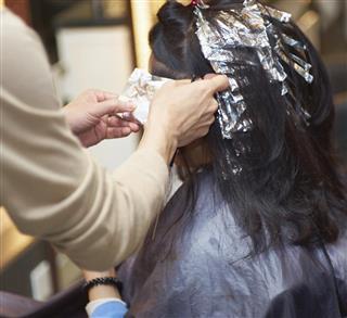 Perm in a beauty salon