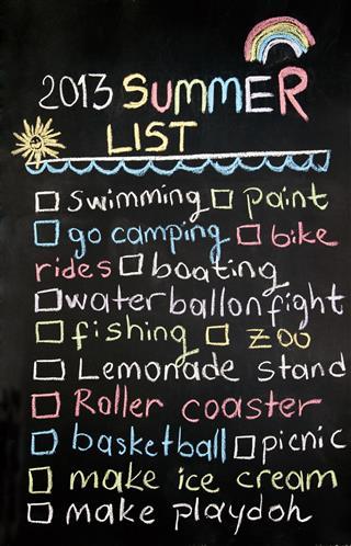 Summer List on blackboard
