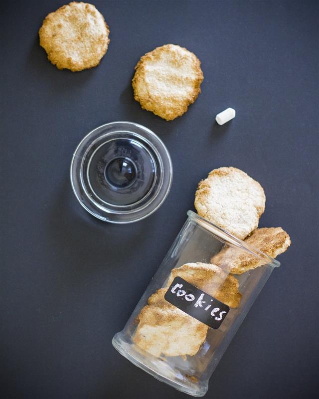 Coconut cookies in glass jar top