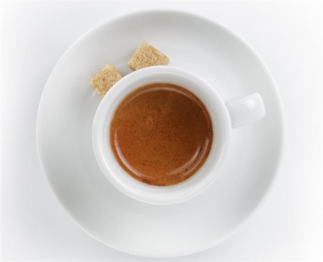 Ristretto espresso in cup with saucer