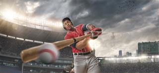 Closeup of Baseball Player Hitting Ball