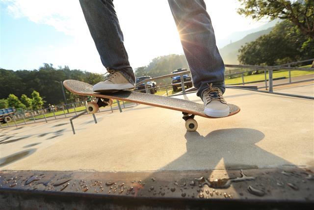skateboarding at skate park