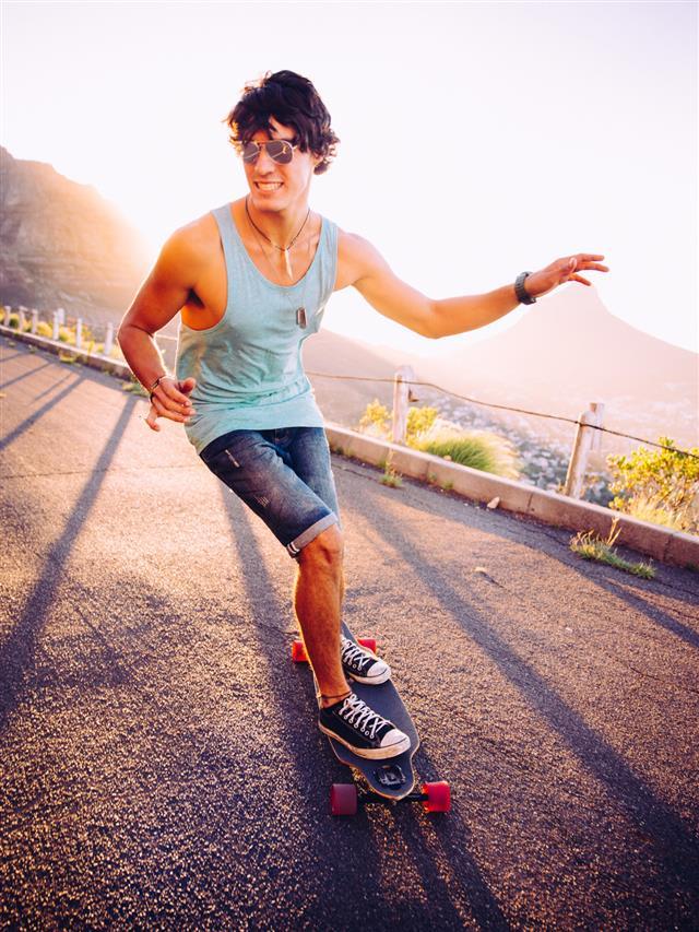 Longboarder skating