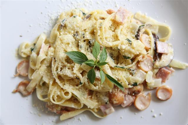 Pancetta pasta italian food
