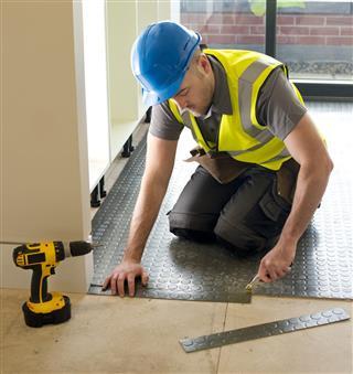 Rubber floor installation