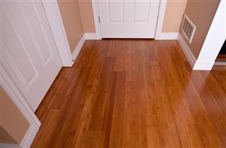 Modern interior bamboo hardwood flooring after renovation