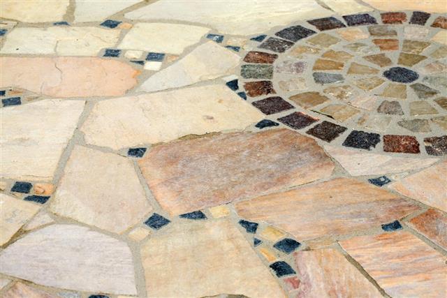 Terrace natural stone mosaic floor