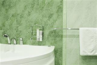 Green pattern bathroom