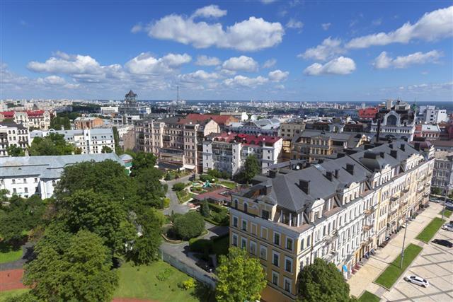 Aerial cityscape Kyiv, Ukraine???