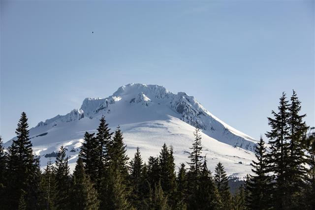 Mt Hood, Oregon Daytime Snowy Landscape on a Sunny Day