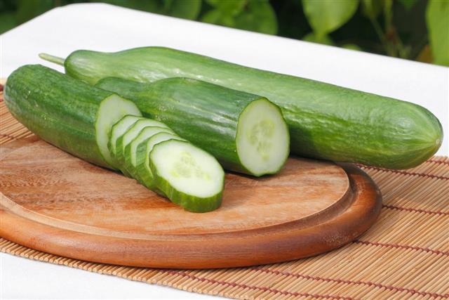 Sliced green cucumber