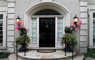 Elegant front door with flowers