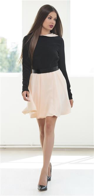 young fashion woman walk