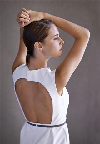 Backless mini dress woman