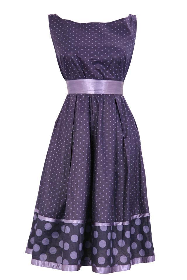 Woman pinched purple dress