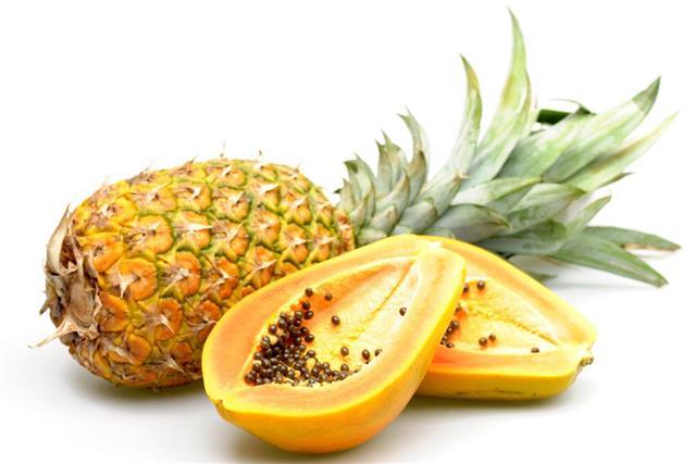 Pineapple and papaya