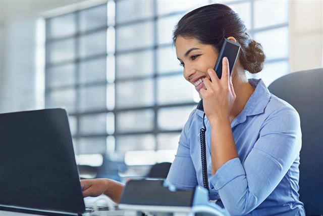 woman handling call